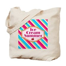 Ice Cream Summer Stripes Tote Bag
