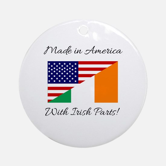 Made in America with Irish Parts Round Ornament