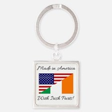 Made in America with Irish Parts Square Keychain