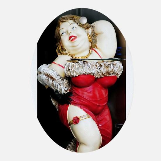 red retro bbw Oval Ornament