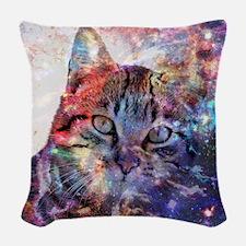 SpaceCat Woven Throw Pillow