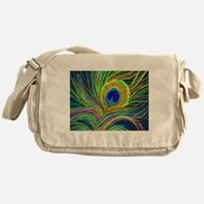 PAINTED PEACOCK FEATHER Messenger Bag