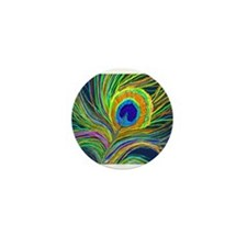 PAINTED PEACOCK FEATHER Mini Button