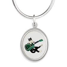 Cat Ukulele Silver Oval Necklace