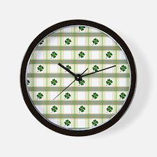 St. Patrick's Day Shamrock Plaid Wall Clock
