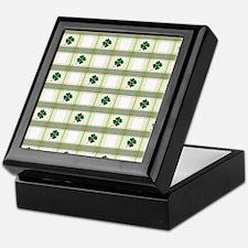 St. Patrick's Day Shamrock Plaid Keepsake Box