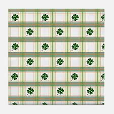 St. Patrick's Day Shamrock Plaid Tile Coaster