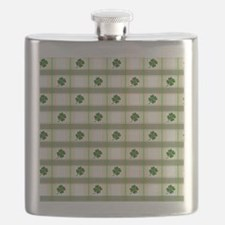 St. Patrick's Day Shamrock Plaid Flask