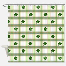 St. Patrick's Day Shamrock Plaid Shower Curtain