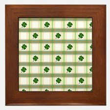 St. Patrick's Day Shamrock Plaid Framed Tile
