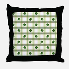 St. Patrick's Day Shamrock Plaid Throw Pillow