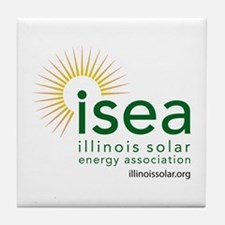 ISEA Logo for white with website Tile Coaster