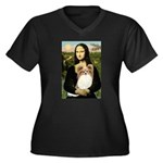 Mona's Papillon Women's Plus Size V-Neck Dark T-Sh