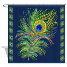 PAINTED PEACOCK FEATHER SC1 Shower Curtain