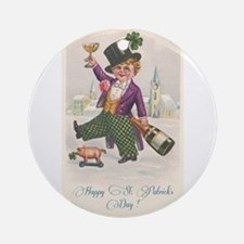 Vintage Happy St. Patrick's Day Ornament (Round)