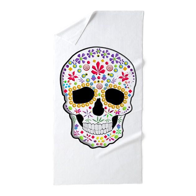 Sugar Skull Beach Towel by TinaGraphics