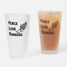 Peace Love Running Drinking Glass