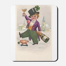 Vintage St Patricks Day Champagne Boy Mousepad