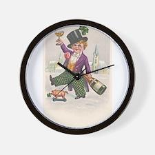 Vintage St Patricks Day Champagne Boy Wall Clock