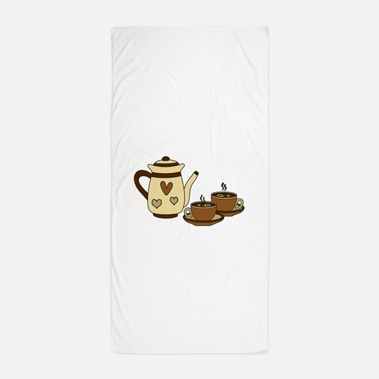 COFFEE CARAFE AND CUPS Beach Towel