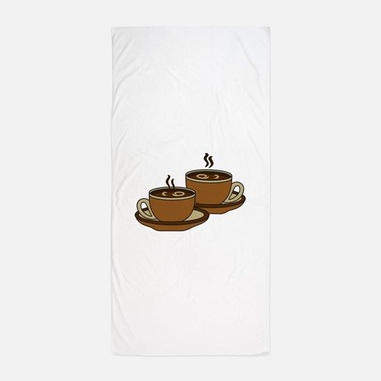 TWO COFFEE CUPS Beach Towel