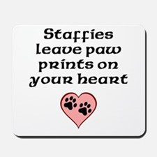 Staffies Leave Paw Prints On Your Heart Mousepad