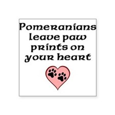 Pomeranians Leave Paw Prints On Your Heart Sticker