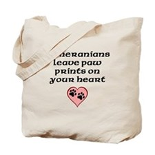 Pomeranians Leave Paw Prints On Your Heart Tote Ba