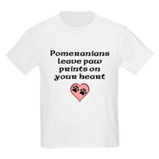 Pomeranians Leave Paw Prints On Your Heart T-Shirt