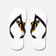 Red Admiral Butterfly watercolour Paint Flip Flops