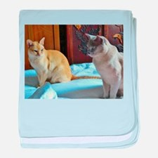Red and Lilac Burmese Cats baby blanket