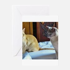 Red and Lilac Burmese Cats Greeting Cards