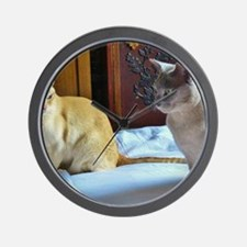 Red and Lilac Burmese Cats Wall Clock