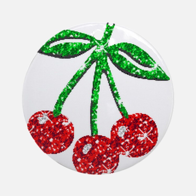 Sparkling Cherries Ornament (Round)