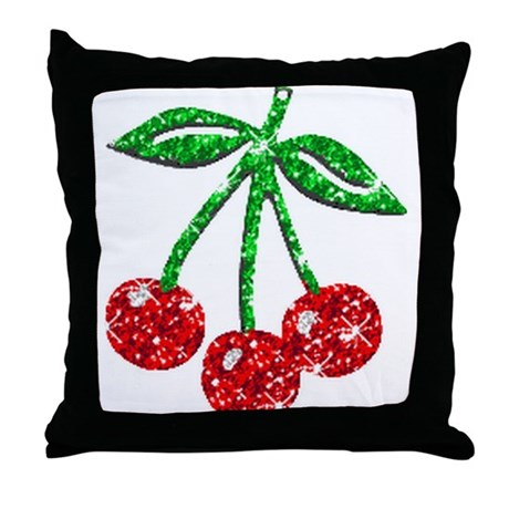 Sparkling Cherries Throw Pillow