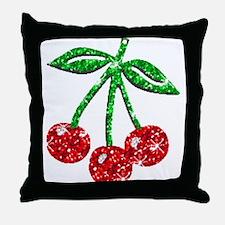Sparkling Cherries Throw Pillow