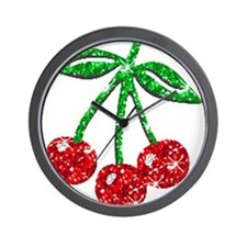 Sparkling Cherries Wall Clock