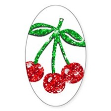 Sparkling Cherries Oval Decal