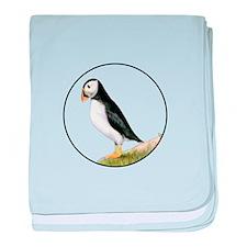 Puffin Bird Painting Artwork baby blanket
