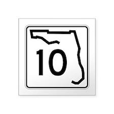 """Route 10, Florida Square Sticker 3"""" x 3"""""""