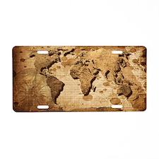 World Map Art Aluminum License Plate