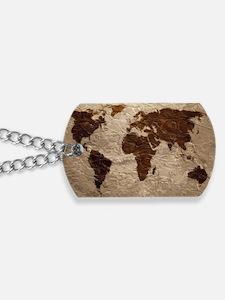 World Map Art Dog Tags