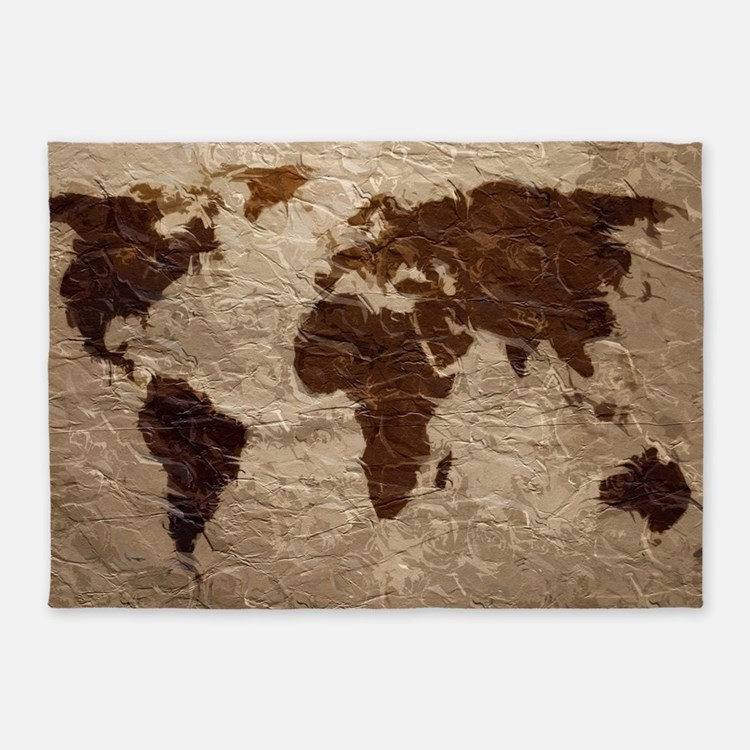 World Map Art 5'x7'Area Rug - World Map Rugs, World Map Area Rugs Indoor/Outdoor Rugs