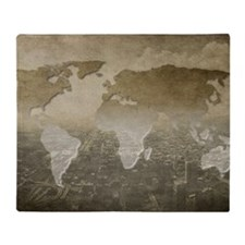 World Map Art Throw Blanket