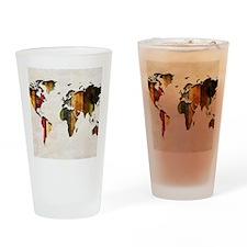 World Map Art Drinking Glass