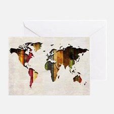 World Map Art Greeting Card