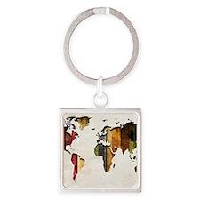 World Map Art Square Keychain