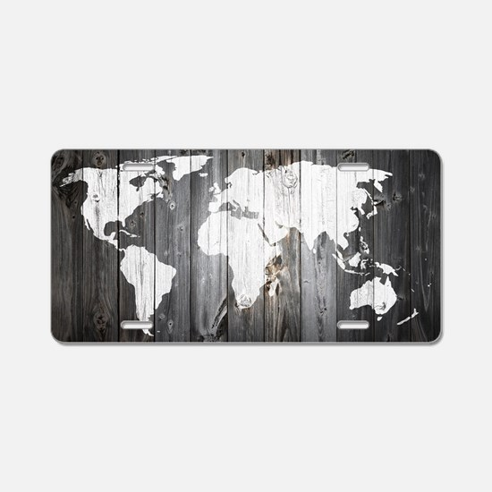 World Map Art Aluminum License Plate