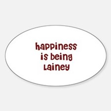 happiness is being Lainey Oval Decal