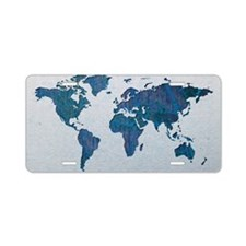 World Map Aluminum License Plate